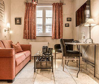Wohnbereich Junior Suite Norbertus, Nespresso Maschine, Details, Hotel Arthus