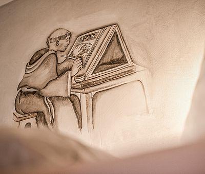 Johannes Gutenberg, Buchdruck, Detail, Portrait, Details Themenzimmer Gutenberg, Hotel Arthus