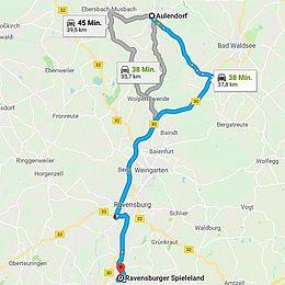 Route Aulendorf-Ravensburger Spieleland, das Abenteuer kennt einen Weg